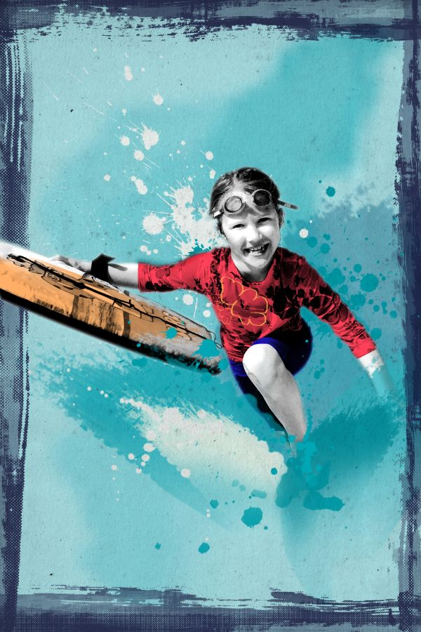 Screenprint Surfing Girl